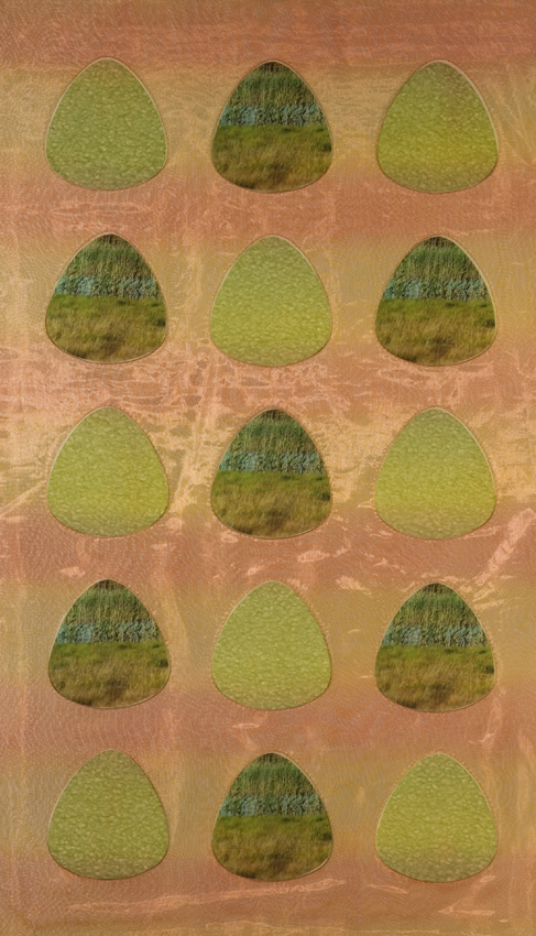 7 Water Margins -  shaped glass inlay with  print, copper mesh,silk, japanese paper, monofilament, 60cm x 100cm copy