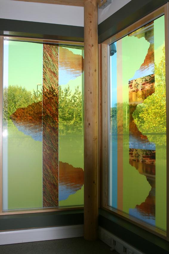 9 Public art commission, Bewbush Healthy Living Centre, Detail, 257 x 143cm, laminated& printed glass copy